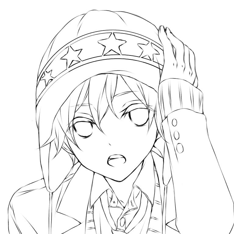 線画 ニット帽子の男の子