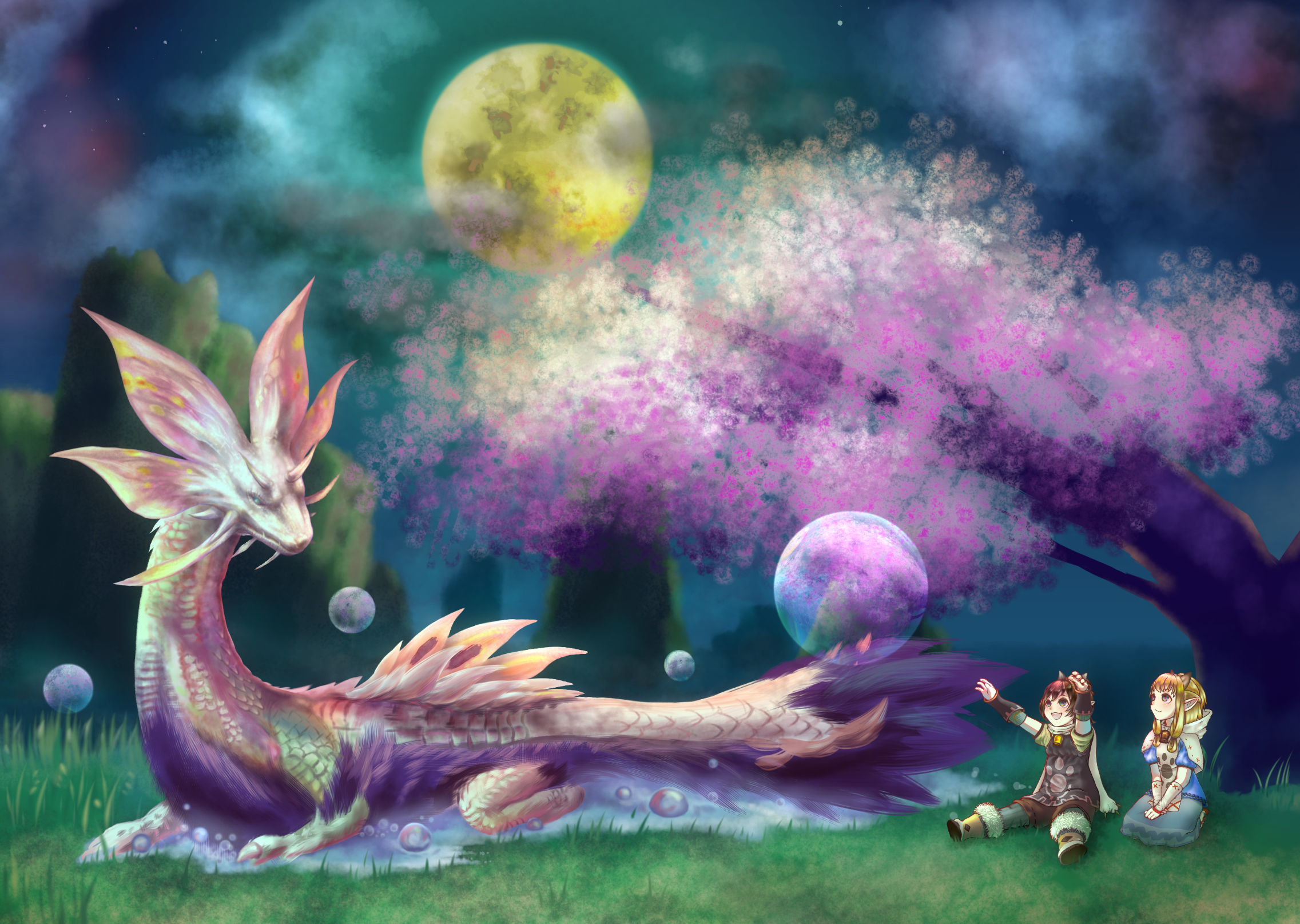 タマミツネと桜 Ibispaint