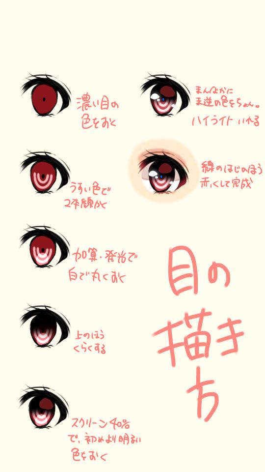 目の描き方色塗り Ibispaint