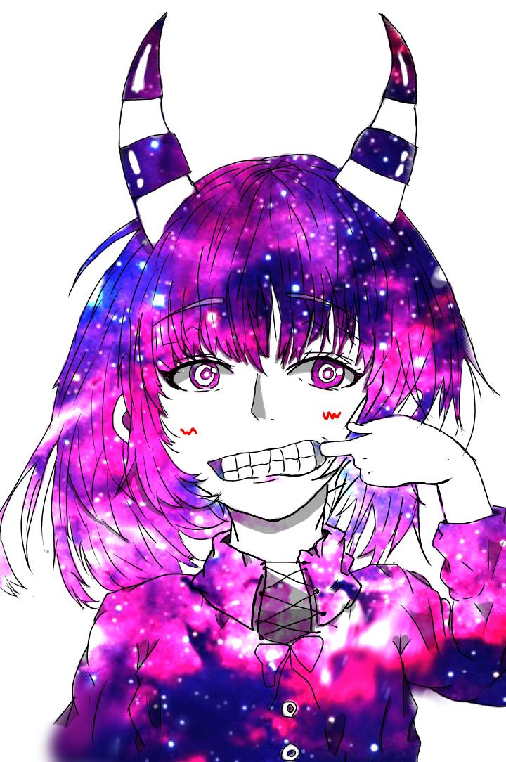 宇宙柄の少女 Ibispaint