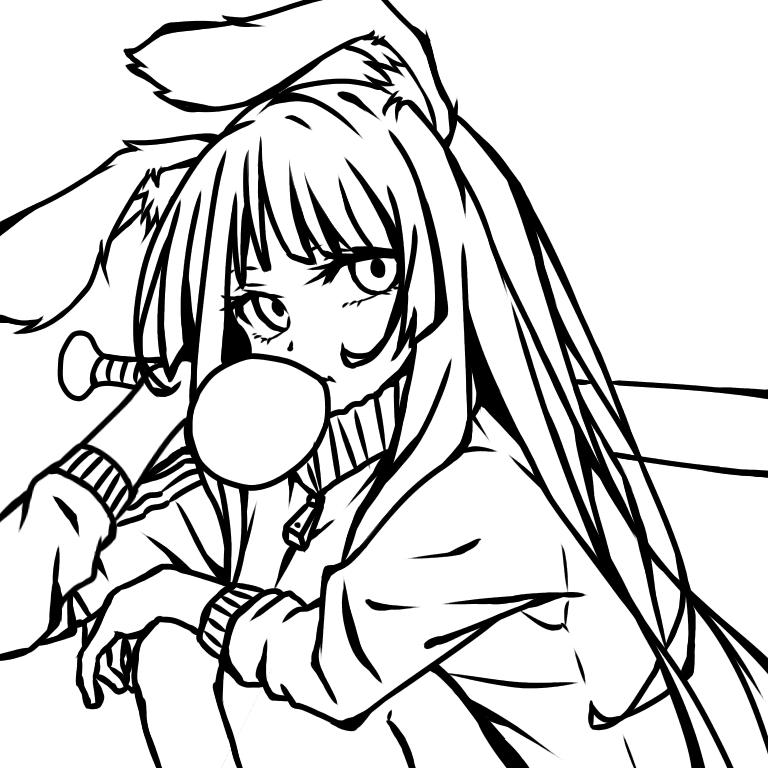 【線画】ウサギヒーロー