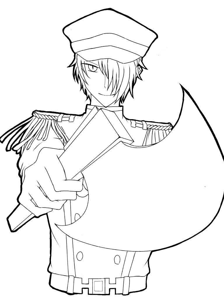 斧を構えた軍人【線画】