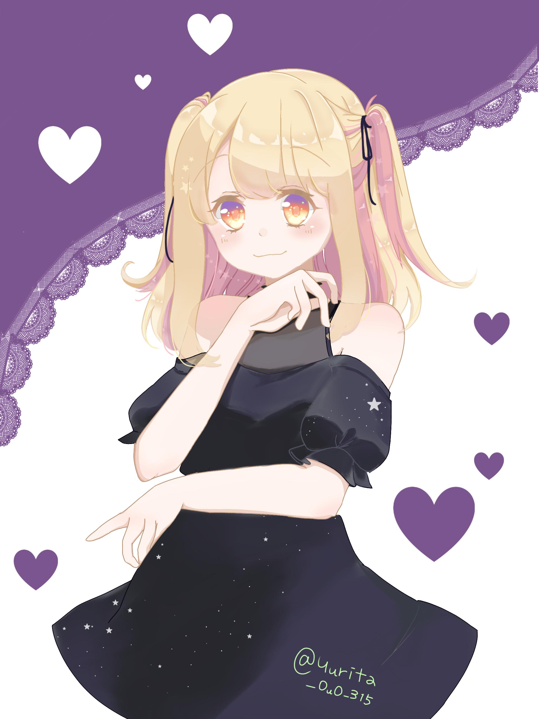 星のドレス 金髪 インナーカラー 女の子 オリジナル フリーアイコン