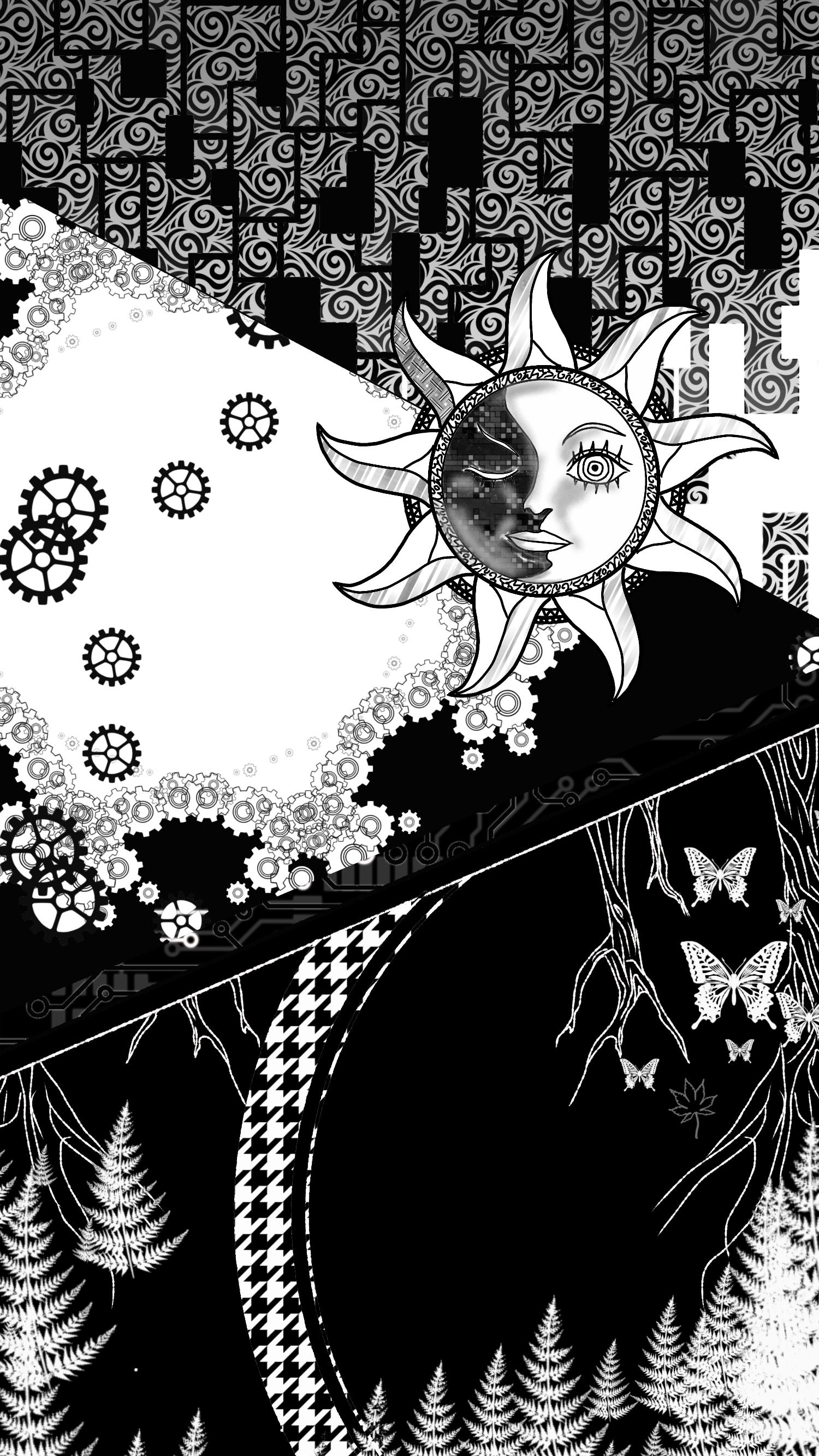 モノクロ太陽の壁紙 Ibispaint